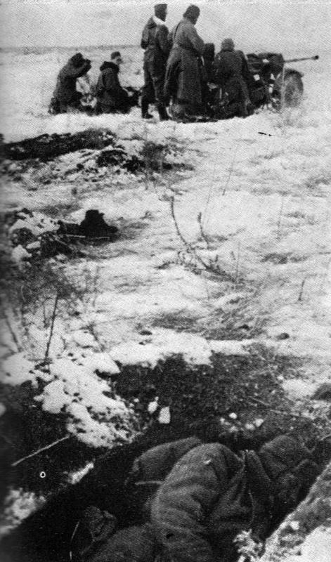 Нем. артил. ведут огонь неподалеку от убитого красноар. Р-н Сталинграда. 42.jpg