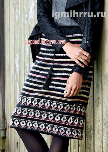 Шерстяная юбка с орнаментальными полосками и жаккардовым бордюром. Вязание спицами