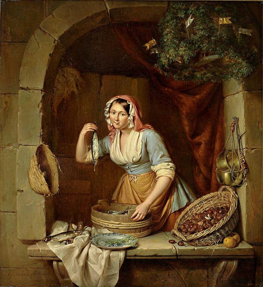 Elisabeth Alida Haanen (1809-1845) - Junge hubsche Marktfrau verkauft Heringe und Maroni.jpg