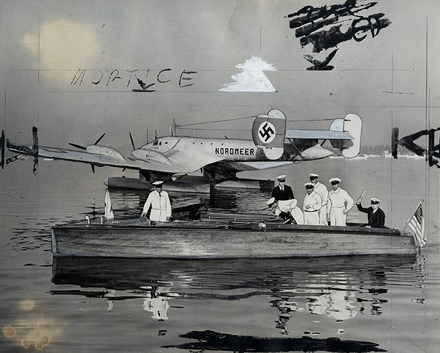 After landing at Port Washington, Long Island, the crew of the seaplane Nordmeer, one of Germany's planned commercial aviation fleet, is taken ashore 1937.