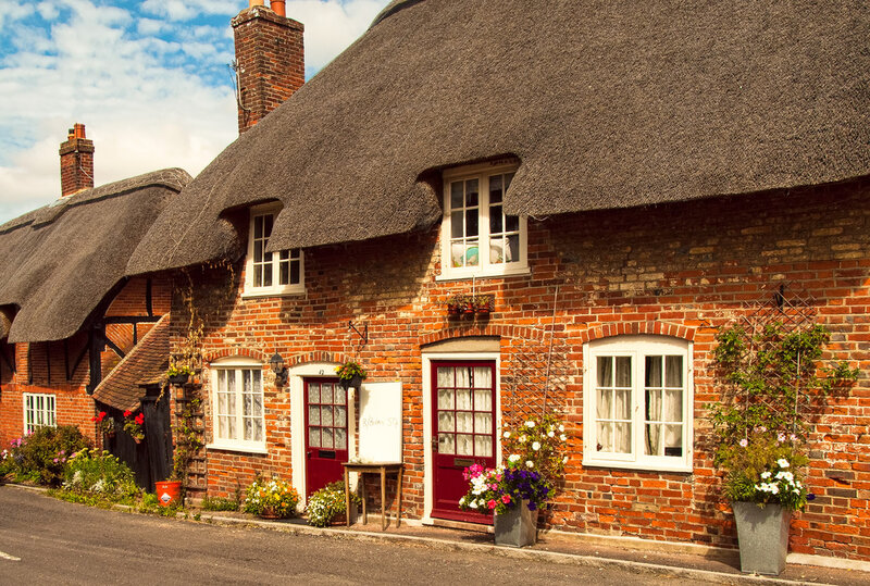 Thatched cottages in the village of Southwick in Hampshire