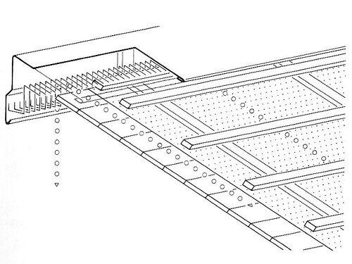 Верхний / нижний воздушный канал на коньке односкатной кровли; конструкция со сплошным настилом и гидроизоляцией