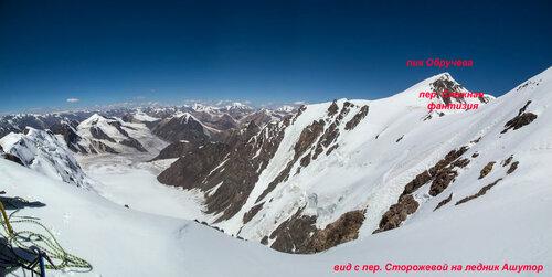 Вид с перевала Сторожевой на перевал Снежная фантазия, ледник Ашутор, пик Обручева