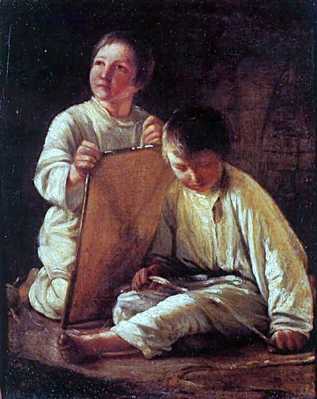 Алексей Венецианов, Alexey_Venetsianov. Два крестьянских мальчика со змеёй