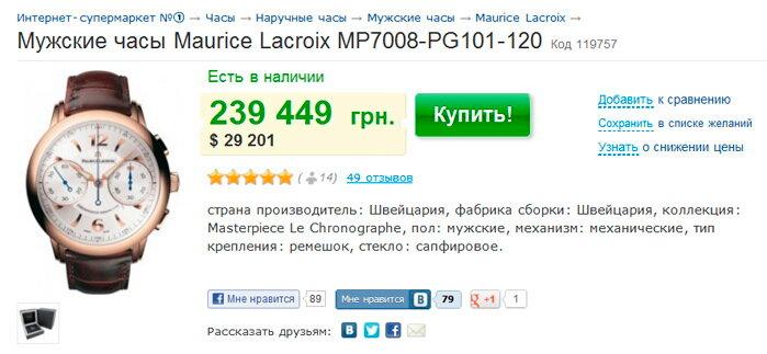Отзывы покупателей о Мужских часах Maurice Lacroix