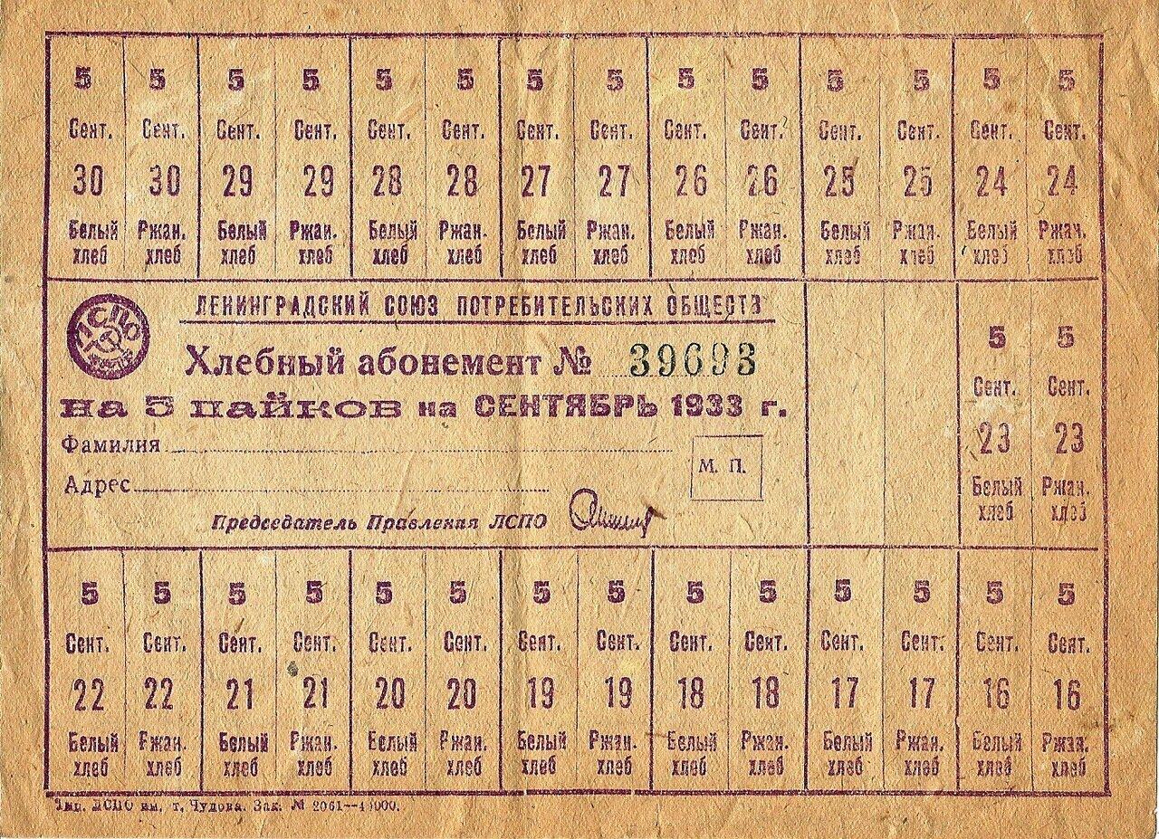 Продуктовые карточки, 1933 г.
