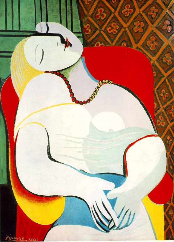 Пикассо,Сон  (1932), Мари-Тереза Вальтер, любовница и модель для Пикассо с 1927 до примерно 1935 года. Le Rêve (The Dream) by Pablo Picasso