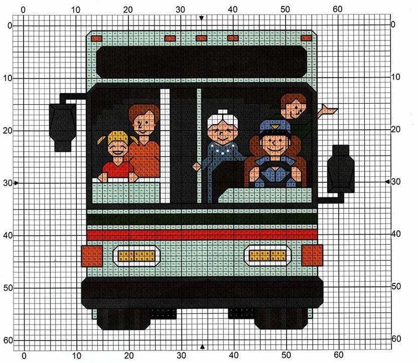 Вышивка автобуса с людьми.