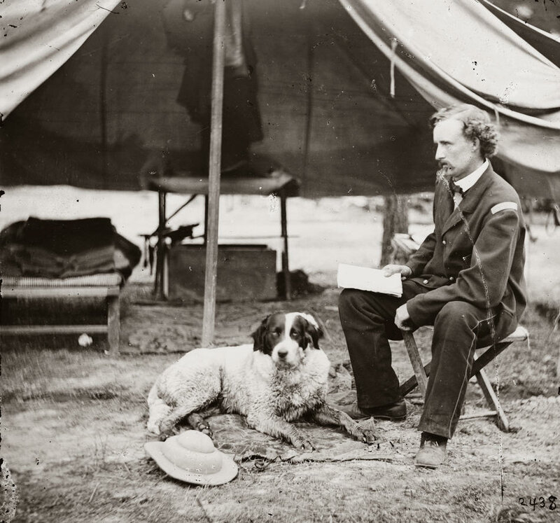 Lt. George A. Custer with dog. Photograph from the main eastern theater of war, the Peninsular Campaign, May-August 1862.<br/>Selected Civil War photographs, 1861-1865 (Library of Congress)