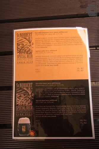 Пивное меню в пивоварне Страгов