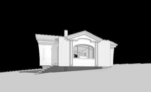 Народный дом, на одну семью, 56 кв.м. Бревенчатый пятистенок, сруб, mod 42-96. Две спальни, гостиная, камин в гостиной, кухня, ванная, туалет, прихожая, кладовка при входе.