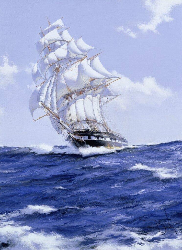 Прикол, открытка с морем и кораблями