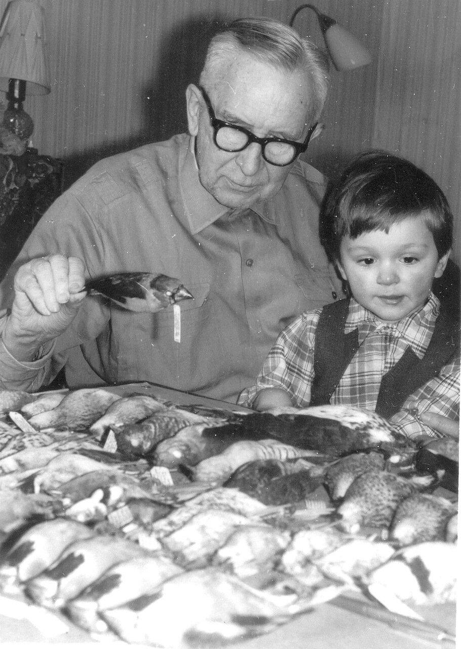1978 г. Константин Александрович Воробьев за разборкой своей коллекции птиц, с внуком Димой