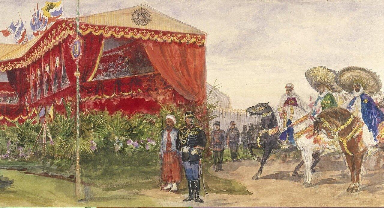 Арабская конница перед трибуной для почетных гостей