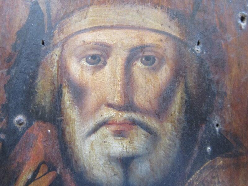 Святитель Николай Чудотворец, архиепископ Мир Ликийских. Фрагмент иконы.