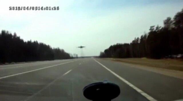 Истребитель над автотрассой. Беларусь