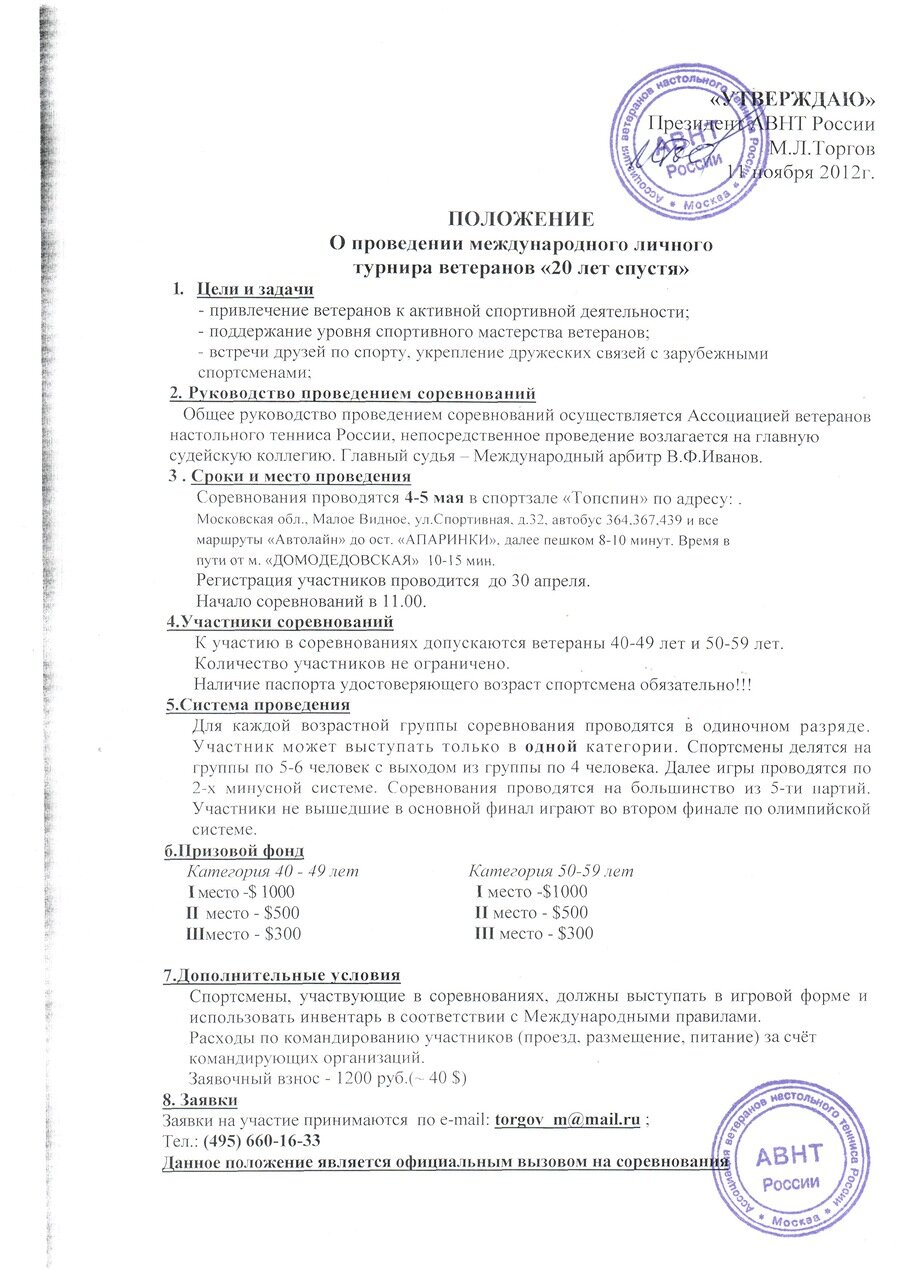 """Международный личный турнир ветеранов """"20 лет спустя"""""""