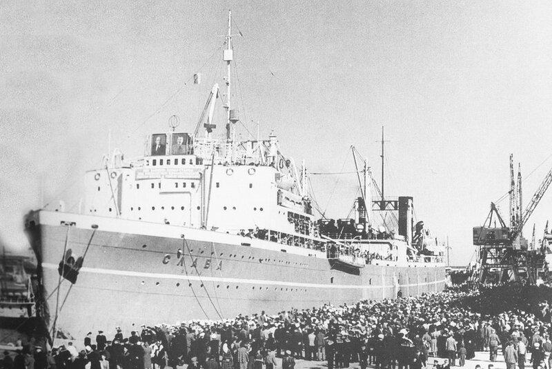Китобойная флотилия «Слава» после рейса в Антарктиду. Одесса, 1953 г.
