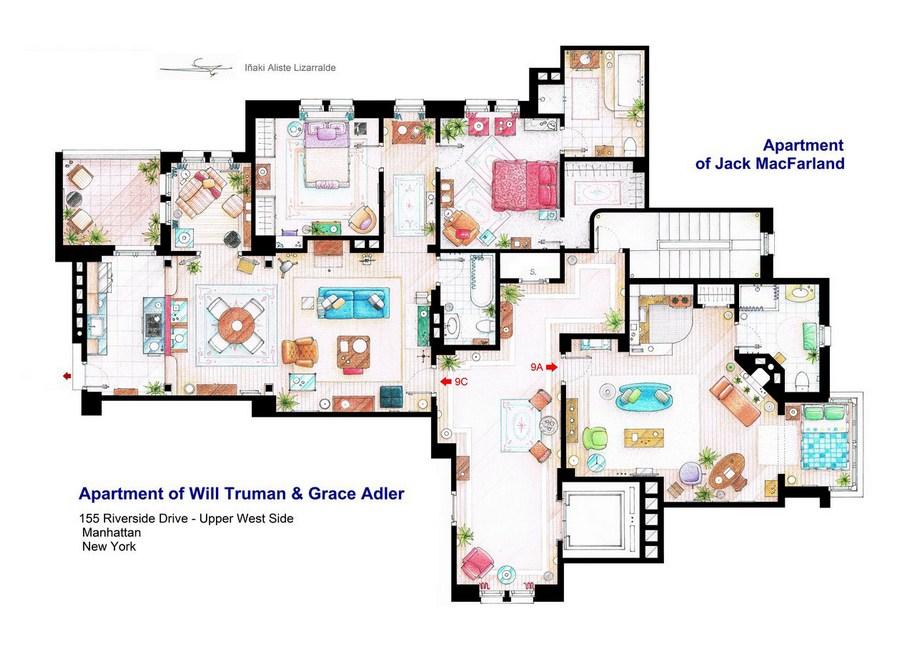 Апартаменты Уильяма Трумана, Грейс Адлер и Джека МакФарленда из комедийного телесериала «Уилл и Грейс»