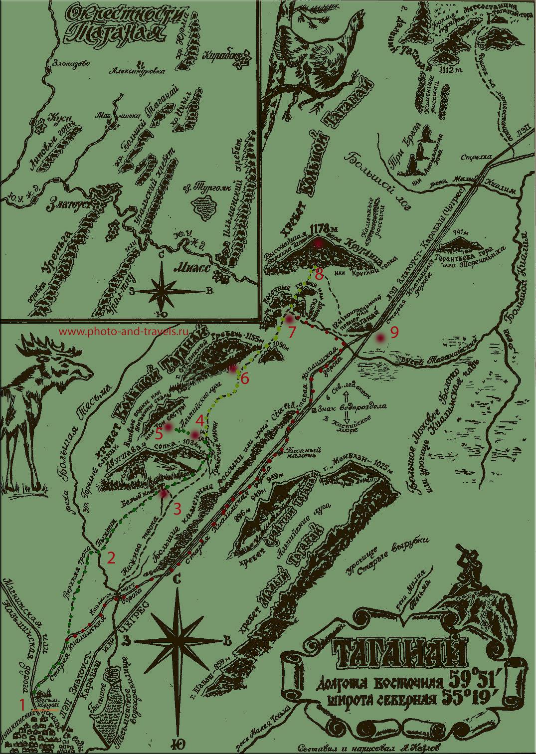 4. Карта тропинок в национальном парке Таганай. Схема маршрута для похода на 2 дня в горах Южного Урала