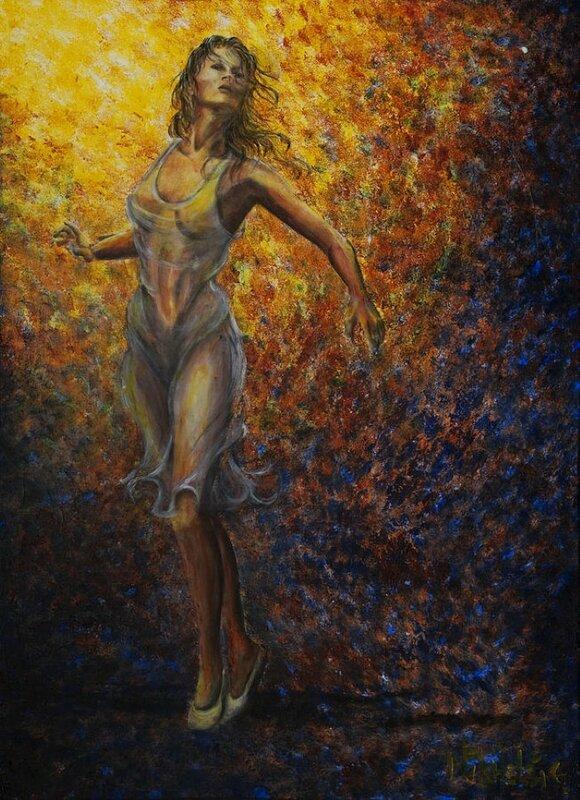 Страсть и танец в янтарной неге лунного огня