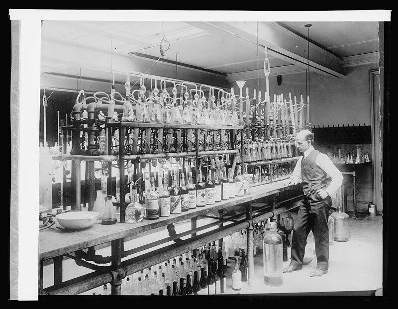 Treas., Chemical Laborator testing whiskey.