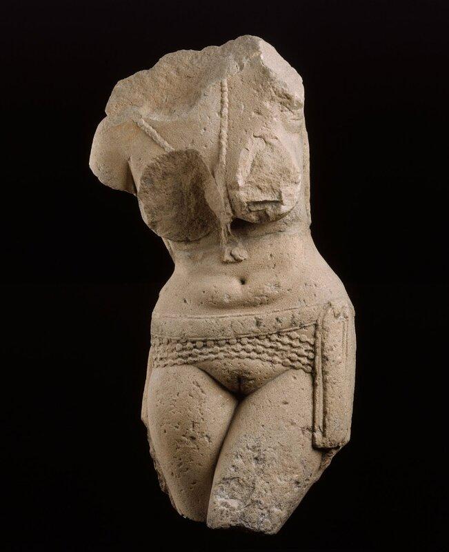 art inde - Torso of a fertility goddess (yakshi), (25 B.C. - 25 A.D.)