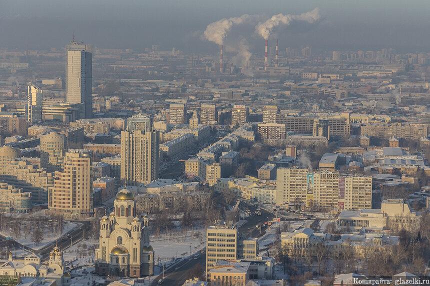 Вид со смотровой БЦ Высоцкий.