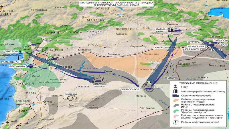 карта контрабанды нефти в Турцию