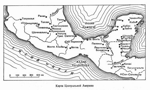 Карта древней Центральной Америки