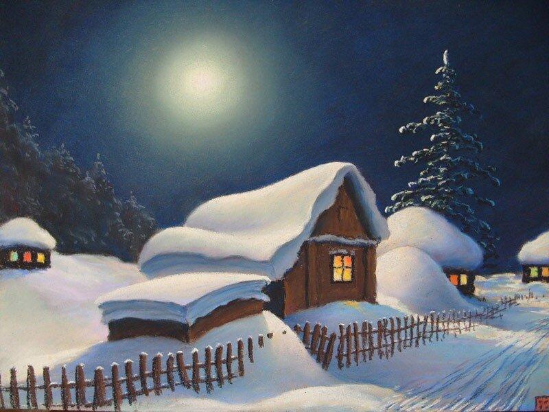А у нас во всю зима, принакрыла все дома. Художники о зиме
