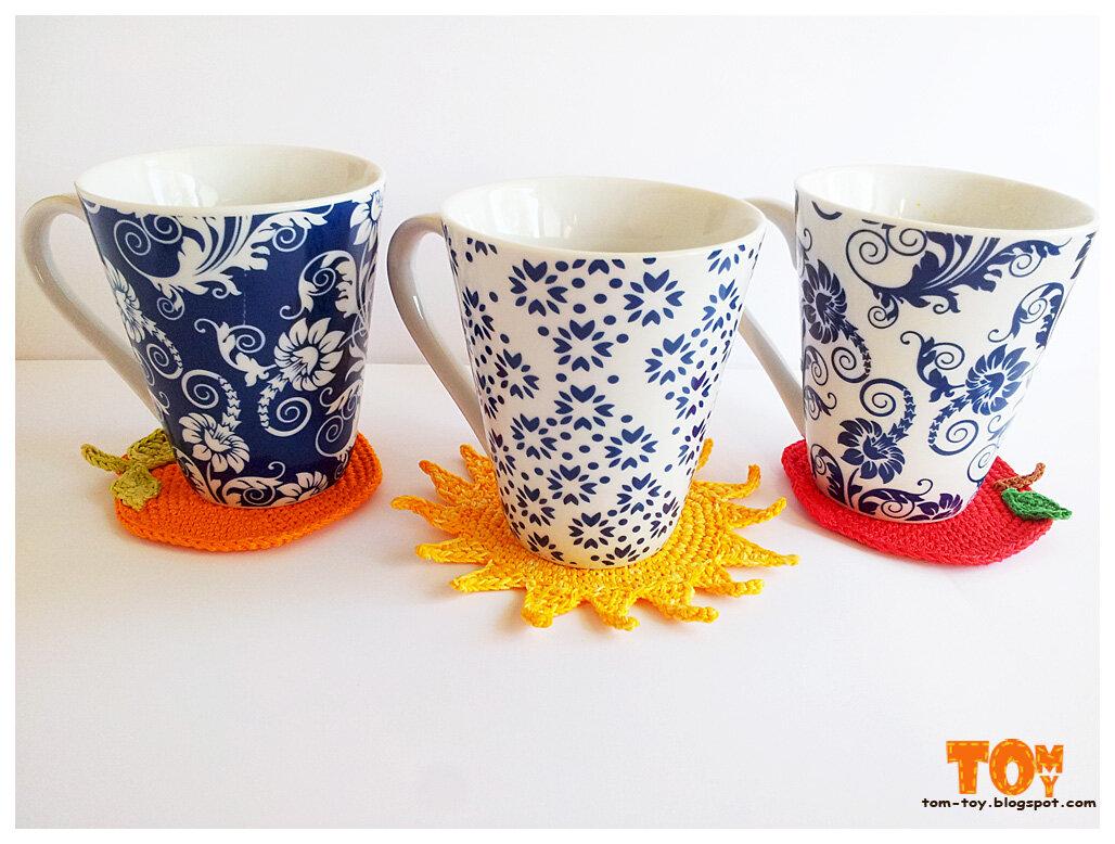 Crochet coasters Вязаные крючком подставки под стаканы תחתיות סרוגות לכוסות