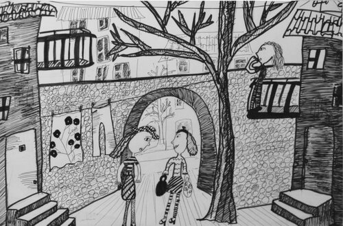 "Диплом 3 степени - Головнина Екатерина, 8лет ""Соседки"". гел. ручка, рук.Медведева Т.П., ДХШ г.Н.Тура"