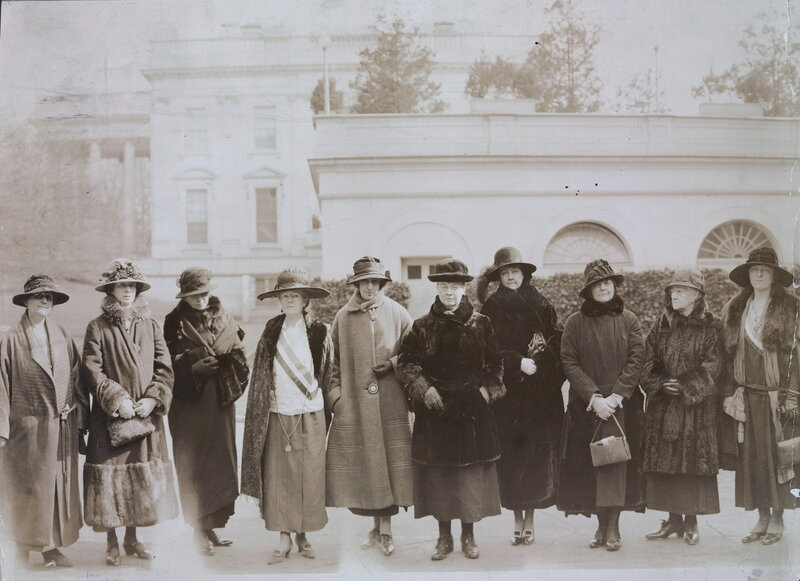 Congress would give full consideration to the Equal Rights Amendment. They formed a Valentine's Day deputation to the President. The[y] are L to R- Mrs. Jessica Henderson, Brookline, Mass.; Mrs. Anne Archbold, Maine; Mrs. Wm. Draper, Maine; Sallie Hovey,