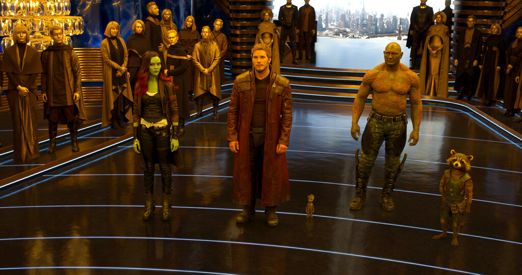 Guardians Of The Galaxy Vol. 2L to R: Gamora (Zoe Saldana), Star-Lord/Peter Quill (Chris Pratt), Groot (Voiced by Vin Diesel), Drax (Dave Bautista), and Rocket (Voiced by Bradley Cooper)Ph: Film Frame©Marvel Studios 2017