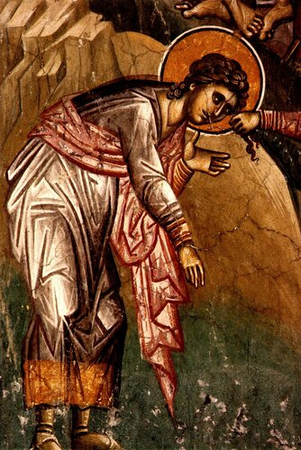 Мученичество Святых Евтропия, Клеоника и Василиска. Фреска монастыря Высокие Дечаны, Косово, Сербия. Около 1350 года.