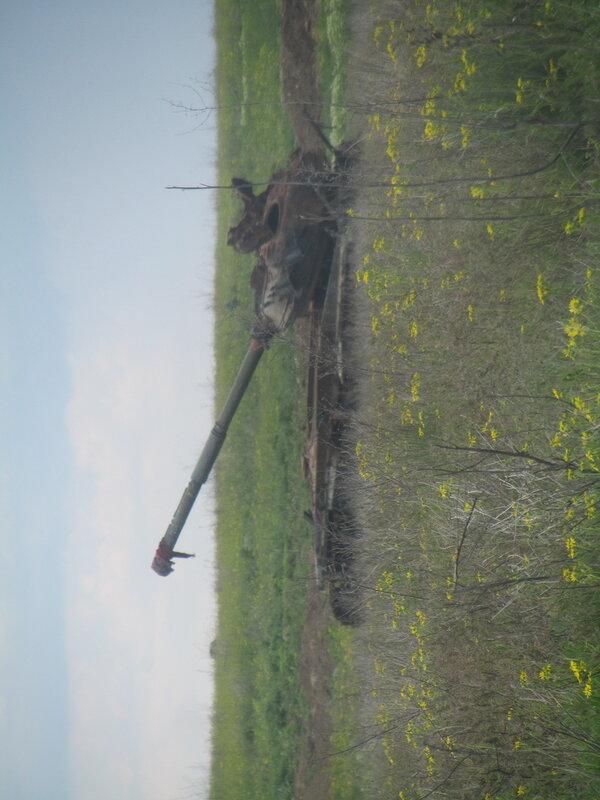 10.05.16 Дебальцево озеро Козлячье сожженный танк.jpg