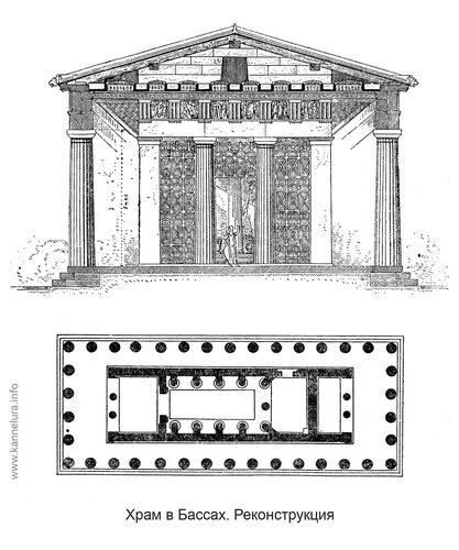 Храм Аполлона в Бассах, чертежи, реконструкция