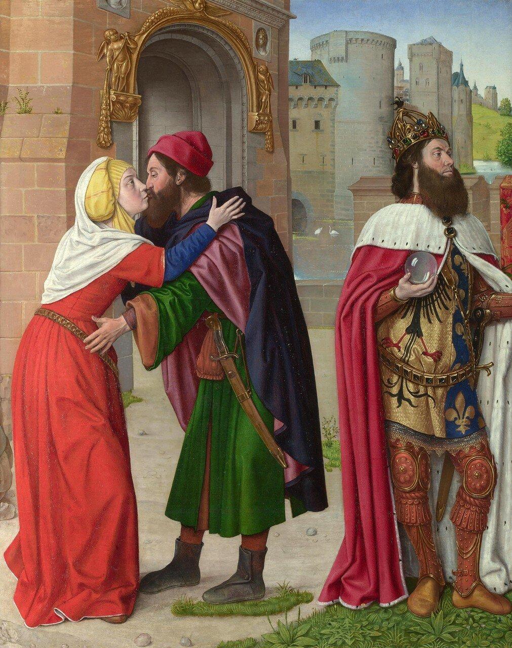 Master of Moulins (Jan Hey) (XV век). Встреча Иоакима и Анны у Золотых ворот (Лондон, Нац. галерея).jpg