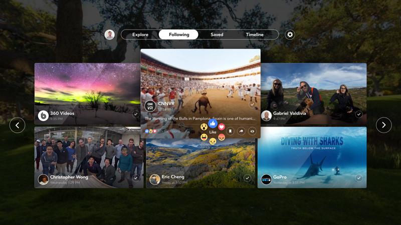 Фейсбук запускает VR-приложение для просмотра 360-градусного контента