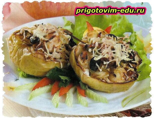 Яблоки фаршированные мясом и орехами