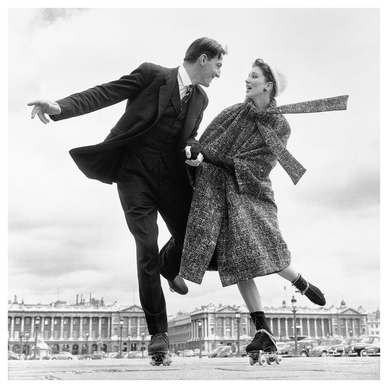 Suzy Parker and Robin Tattersall, dress by Dior, Place de la Con