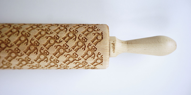 Custom Engraved Rolling Pins Imprint Patterns into Cookie Dough