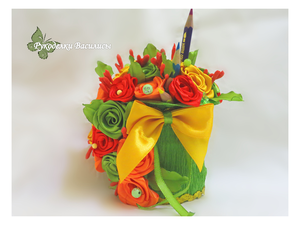цветы из атласных лент, творчество, сувениры, ручная работа, рукоделки василисы, розы из атласных лент, подарки, праздник, оформление подарка, оригинальные подарки, оранжевый, handmade, handwork, интерьерная композиция