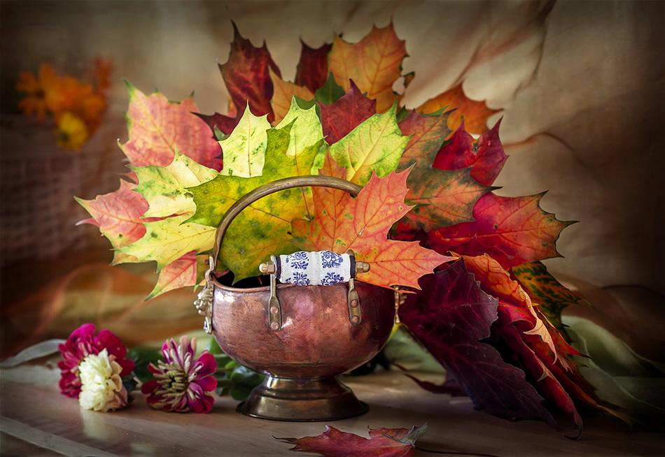 Днем, осенняя открытка с листьями