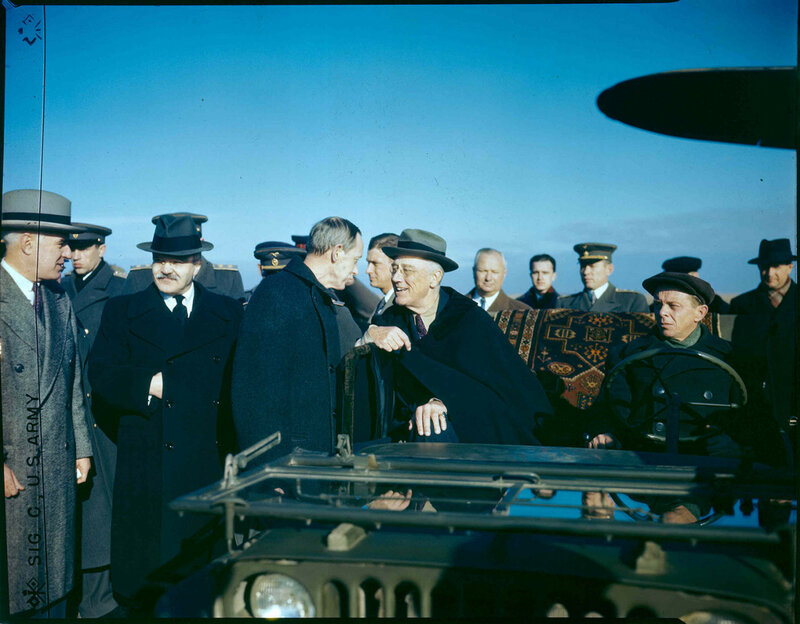 1945 FDR, Harry Hopkins, Edward Stettinius and Molotov at Saki Airport.jpg