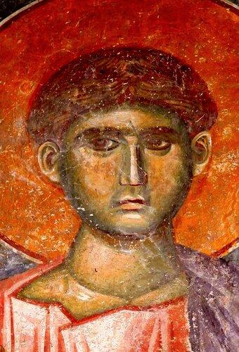 Святой Первомученик Архидиакон Стефан. Фреска в церкви Спаса в монастыре Жича, Сербия. 1309 - 1316 годы.