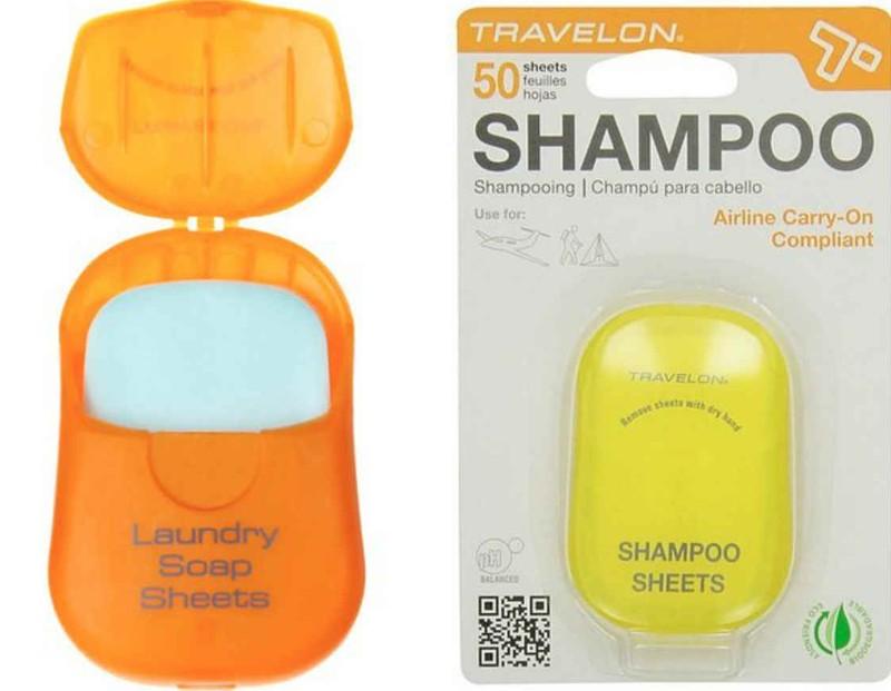 10. Набор мыла и шампуня в пластинках Компактный легкий контейнер со специальными пластинками, среди
