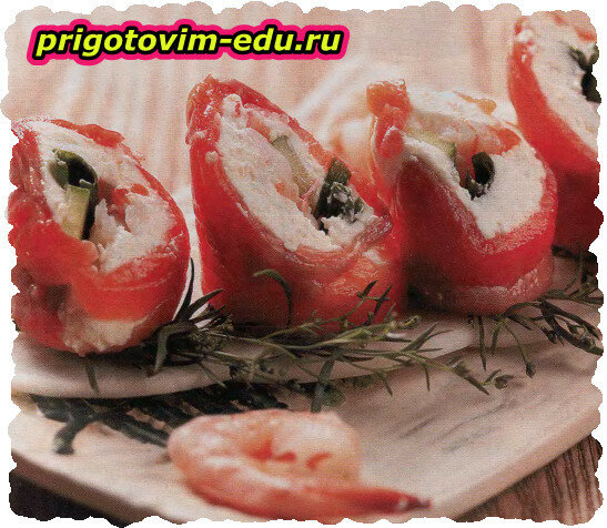 Рулетики из семги с крем-сыром