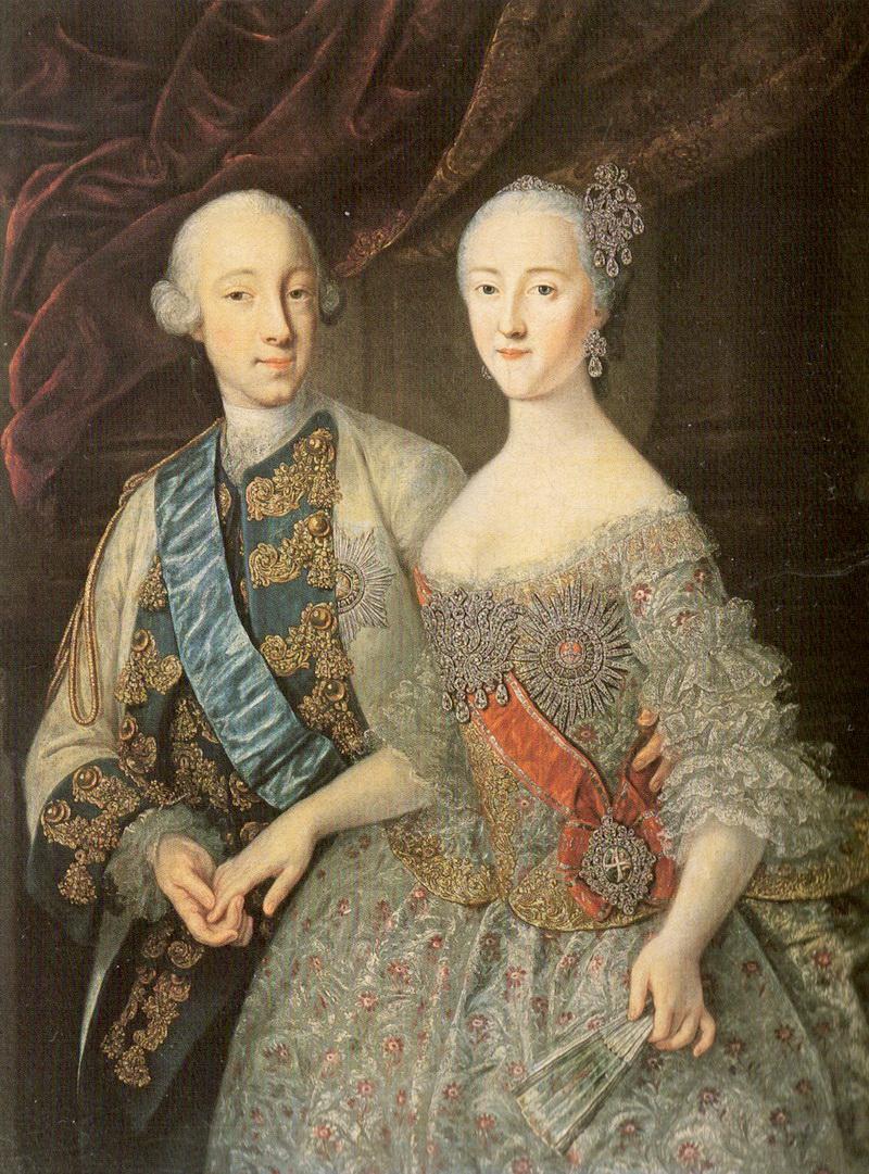 Совместный портрет Петра и Екатерины работы Г. К. Гроота